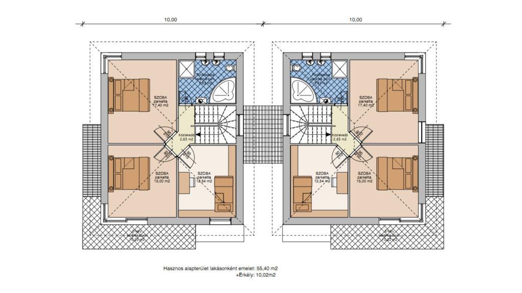 családi házak tervezése és kivitelezése - korrekt építő - ikerház veresegyház- emelet