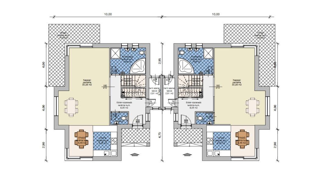 családi házak tervezése és kivitelezése - korrekt építő - ikerház veresegyház- foldszint